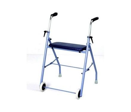 Andador plegable con 2 ruedas y 2 patas