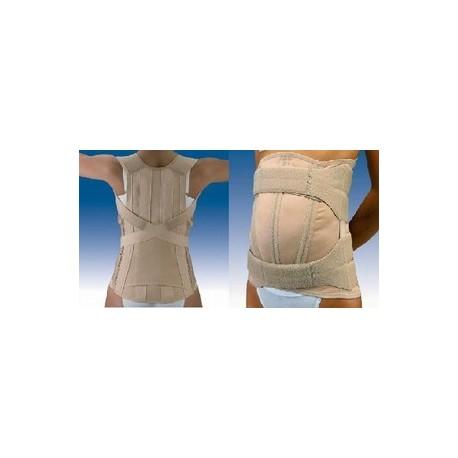 Faja dorsolumbar semirrigida y cierre de velcro con abdomen pendulo