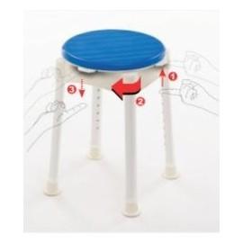 Taburete de baño giratorio y regulable en altura.