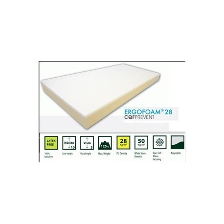 Colchón de espuma y viscolátex para cama de 135 cm