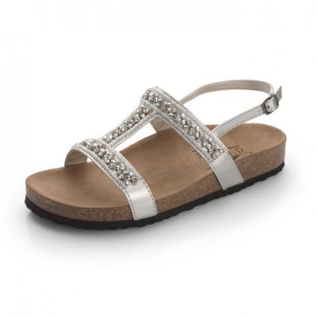 Sandalia plata brillante