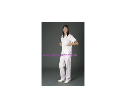 pijama cuello pico blanco