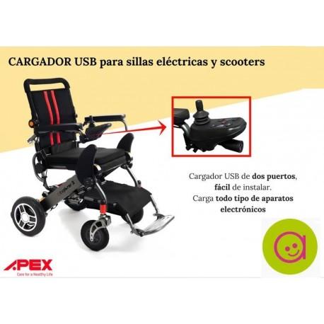 Cargador USB para sillas de ruedas eléctricas